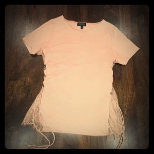 TOPSHOP light pink with lace side detail t shirt